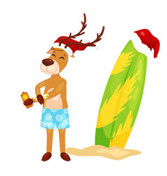 Cartoon christmas deer putting on body sun block vector