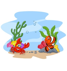 Cartoon clown fish and crab with corral and anemon vector