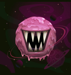 Cartoon fantasy monster pink planet with giant vector
