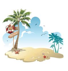 cartoon island with luggage in sea vector image