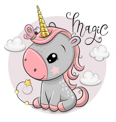 cartoonl unicorn with gold horn and clouds vector image