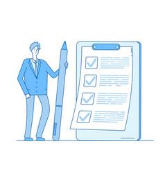 Checklist businessman person holding pencil vector