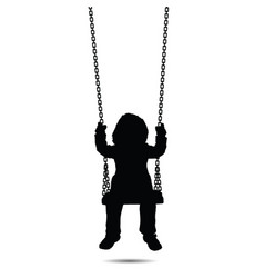 child swinging black silhouette one vector image