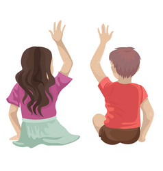 Children - a boy and a girl sit back raised their vector