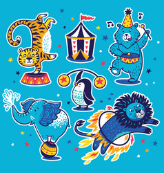 collection stickers with circus animals vector image