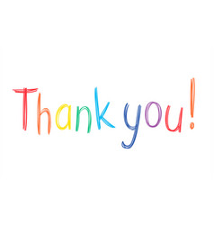 colorful pen handwritten thank you sketchy phrase vector image