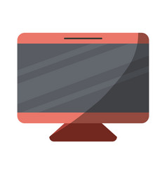 colorful silhouette of screen monitor with half vector image