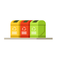 colorful trash recycling containers rubbish bins vector image