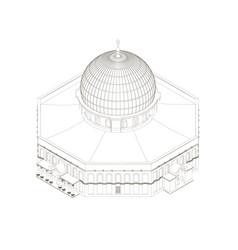 contour building with a dome isometric vector image