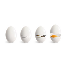 Cracking egg realistic icon set vector