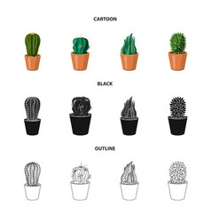 design of cactus and pot sign set of vector image