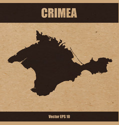 Detailed map of crimea on craft paper background vector