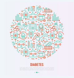 Diabetes concept in circle with thin line icons vector