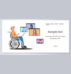 disabled woman wheelchair chatting with friends vector image