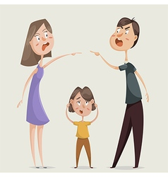Divorce family conflict wife husband and child vector