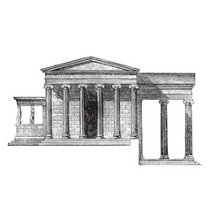 Erechtheum the pandrosium vintage engraving vector