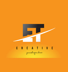 Et e t letter modern logo design with yellow vector
