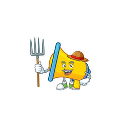 Farmer yellow loudspeaker cartoon character for vector
