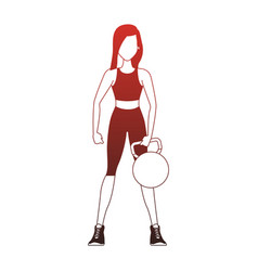 Fitness woman lifint kettlebell red lines vector