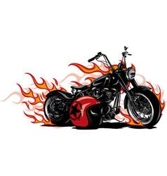 Flaming bike chopper ride vector