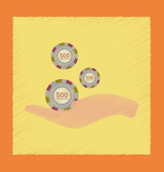 flat shading style icon casino chips in hand vector image