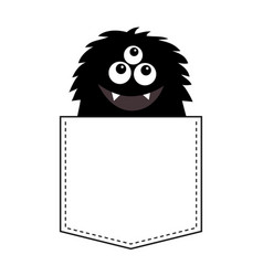 fluffy black monster silhouette in the pocket vector image