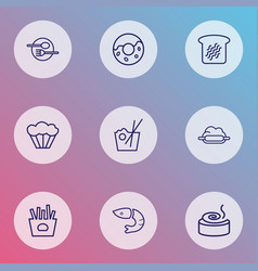 food icons line style set with donut toast bread vector image