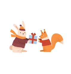 Funny rabbit in warm clothes giving gift box to vector