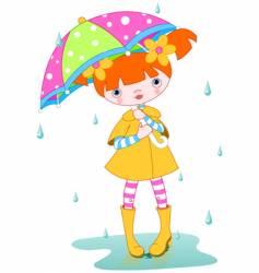 girl rain vector image