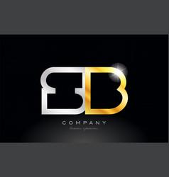 gold silver alphabet letter sb s b combination vector image