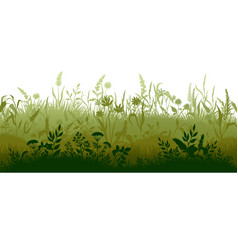 grass silhouette marsh and swamp plains with weed vector image