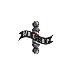 hand drawn barber pole vintage logo designs vector image