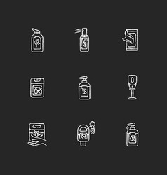 Hand sanitizers chalk white icons set on black vector