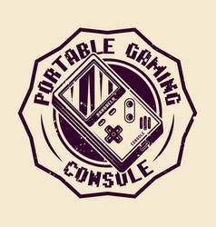 handheld gaming console badge or emblem vector image