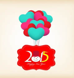 Happy New Year 2015 Greetings with balloons fly vector