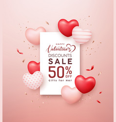 happy valentines sale red and pink white balloon vector image