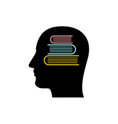 head silhouette with stack of books inside vector image