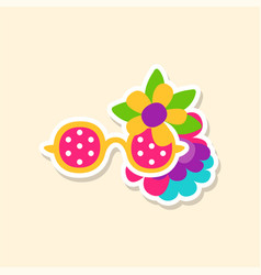 Hippie sun glasses and flowers cute sticker in vector
