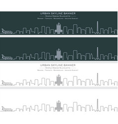 houston single line skyline banner vector image