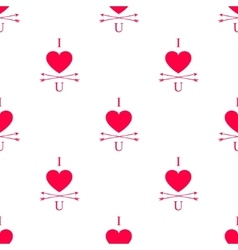 i love you seamless pattern with heart and vector image