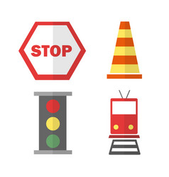 icons set about transportation with train stop vector image