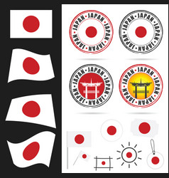japan flag with icon and grunge rubber design vector image
