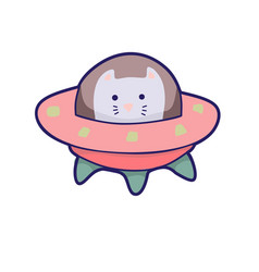 japanese kawaii cat travels in space funny vector image