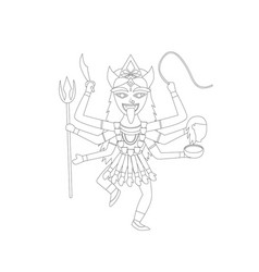 kali in outline style for coloring vector image