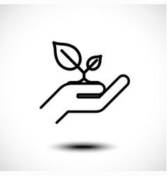 leaf in hand care nature line icon vector image