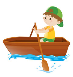 little boy rowing boat alone vector image