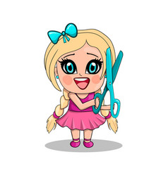 Little girl with scissors in cartoon style vector