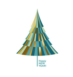 luxury gold and green decorative christmas tree vector image