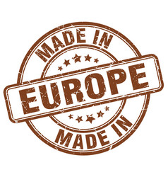 Made in europe brown grunge round stamp vector