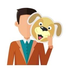 Man with Dog Mask Flat Design vector image